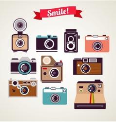 old vintage camera set vector image vector image