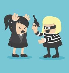robbing a businesswoman vector image vector image