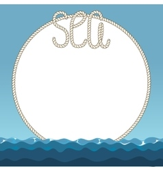 Sea waves and marine ropes frame vector