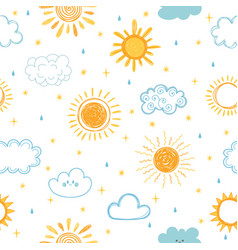 seamless pattern with hand drawn clouds stars vector image