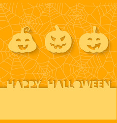 Three orange pumpkins on the background of the web vector image