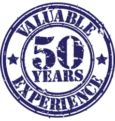 Valuable 50 years of experience rubber stamp vect vector image
