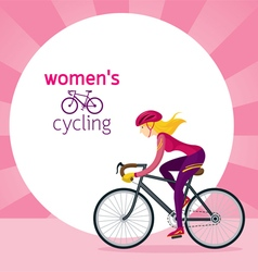 Woman in protective sportswear cycling road bicycl vector
