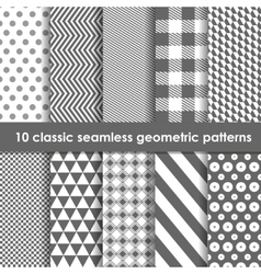 10 monochrome classic seamless geometric patterns vector