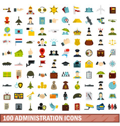 100 administration icons set flat style vector image