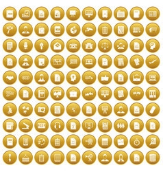 100 work paper icons set gold vector