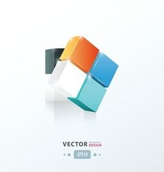 3D Cube twist orange blue and black vector