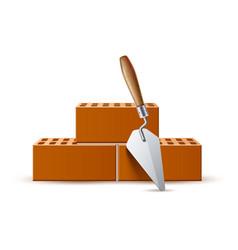 3d trowel with bricks industrial work vector image