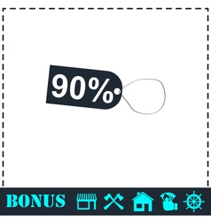 90 percent discount icon flat vector