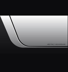 Abstract white metallic black line curve vector