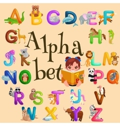 Animals alphabet set for kids abc education in vector