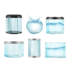 Aquarium for fish empty transparent realistic vector