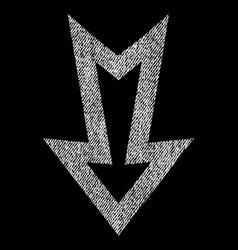 Arrow down fabric textured icon vector