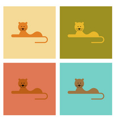 Assembly flat icons nature cartoon lioness vector