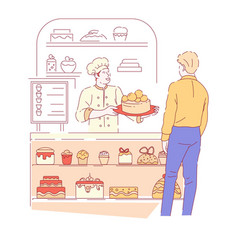 bakery shop and baker with customer cakes and vector image