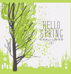 Banner with spring city landscape and inscription vector