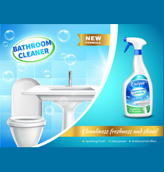 Bathroom cleaner advertising composition vector