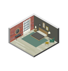 Bedroom in isometric view vector
