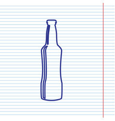 beer bottle sign navy line icon on vector image