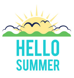 blue hello summer sun cloud background imag vector image