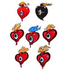 Cartoon hearts with eye and fire flames vector image
