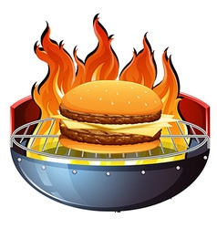 Cheeseburger on hot grill vector image