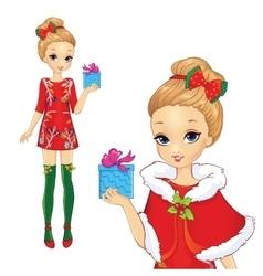 Christmas Girl Holding Present vector