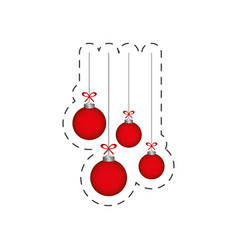 christmas red balls hanging decoration vector image