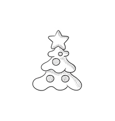 Christmas tree with decoration sketch icon vector image