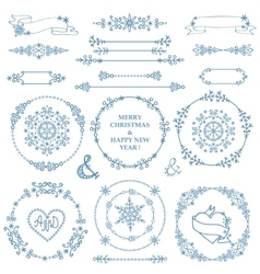 ChristmasNew year decor setWinter wreath frames vector image vector image