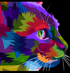 close up of face side cat vector image