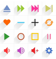 Color media control sign flat icon vector