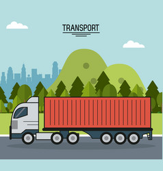 Colorful poster of transport with cargo truck on vector