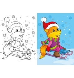 Coloring Book Of Cute Fox Sits On Sled vector image