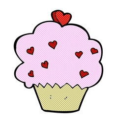 Comic cartoon cupcake vector