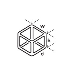 cube model measuring hand drawn outline doodle vector image