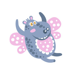 Cute cartoon smiling hippo character flying like a vector