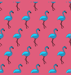 Cute hand-drawn seamless pattern with flamingo vector