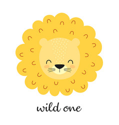 cute lion face isolated on white background vector image
