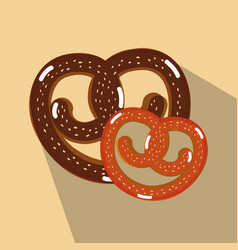 Delicious bakery pretzel bread vector