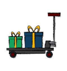Delivery cart gift boxes logistic transport icon vector