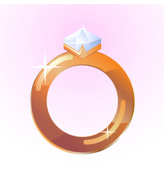 diamond ring shining golden ring vector image