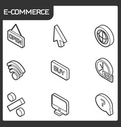 e-commerce outline isometric icons vector image