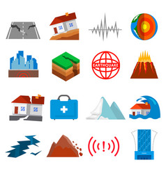 earthquake shaking icon set vector image