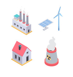 ecology concept - modern colorful isometric vector image