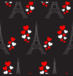 eiffel tower and hearts seamless pattern vector image