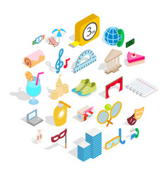 Entertainment for everyone icons set isometric vector