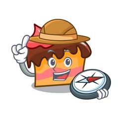 Explorer sponge cake mascot cartoon vector