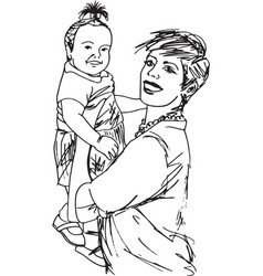 Family mother and baby daughter vector
