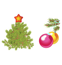 fir tree decorated with star and green spruce vector image